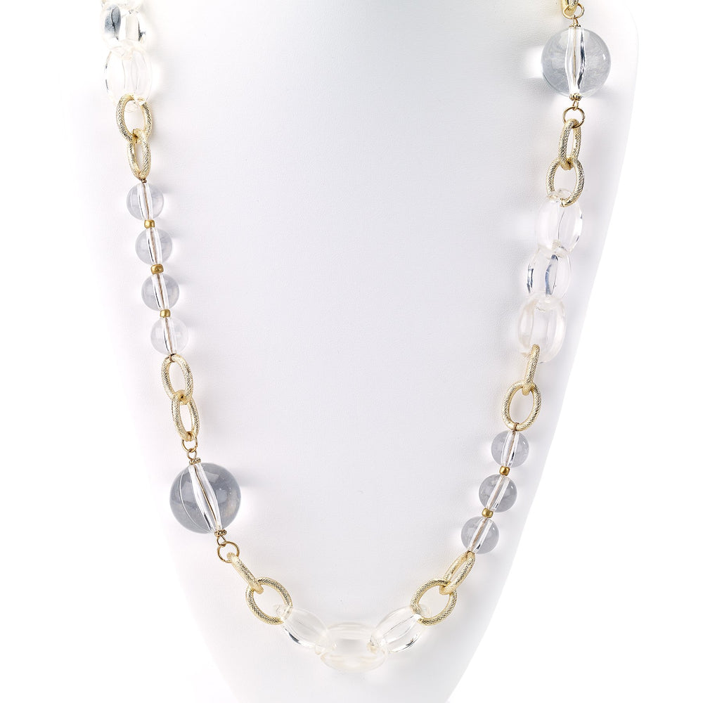 Beaded clear crystals with gold link chain