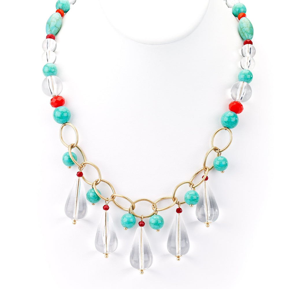 Clear Drop Crystal Necklace with Turquoise - Final Sale