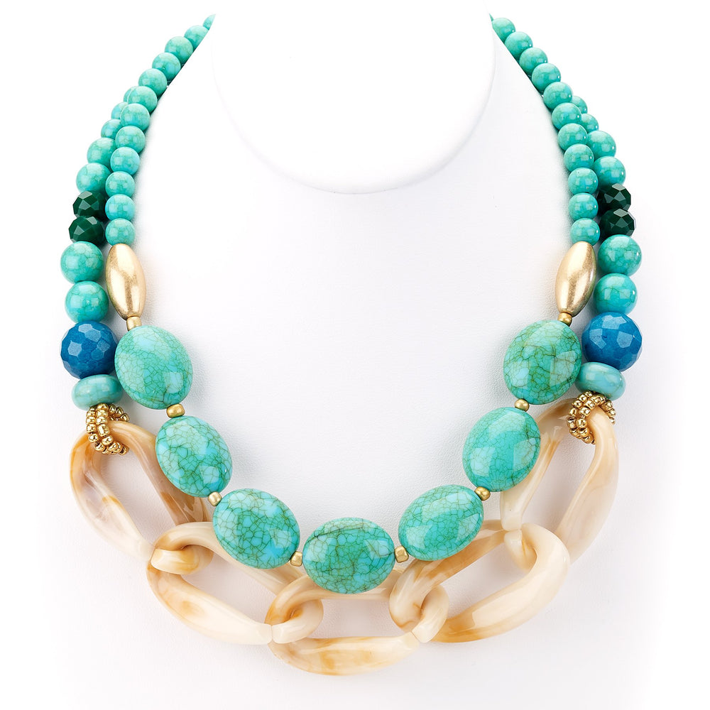 Turquoise/Resin Double Strand Necklace - Final Sale