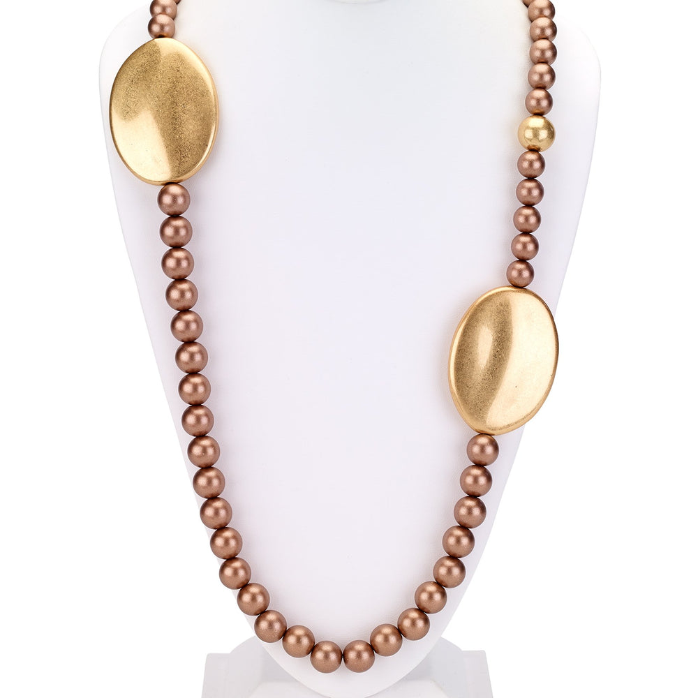 Beaded chunky necklace with oval disks gold