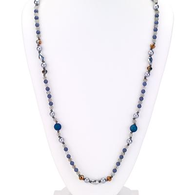 Beaded  long combo necklace silver