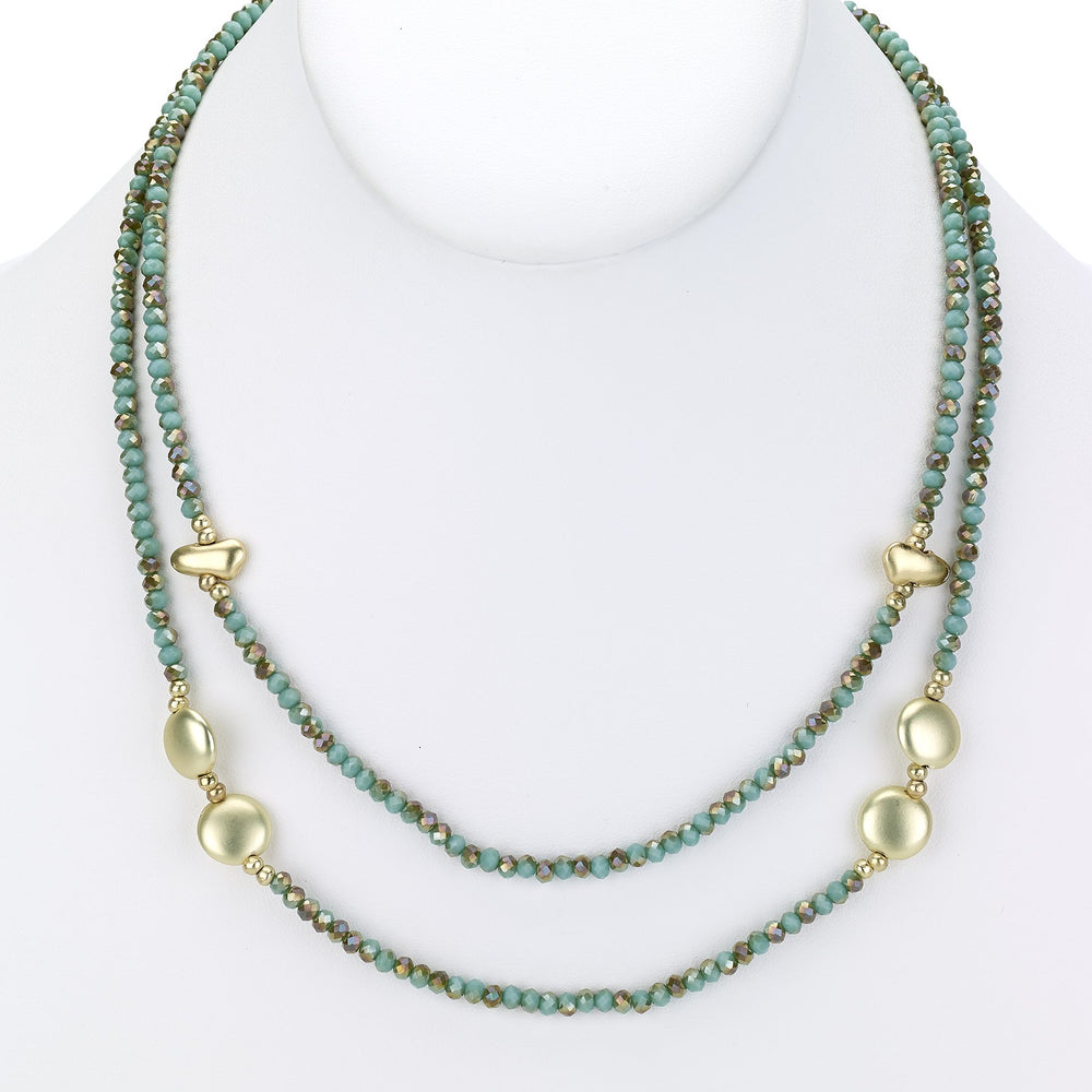 Beaded necklace two strand with gold charms silver