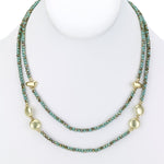Beaded necklace two strand with gold charms