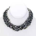 Beaded necklace multi strand cluster silver