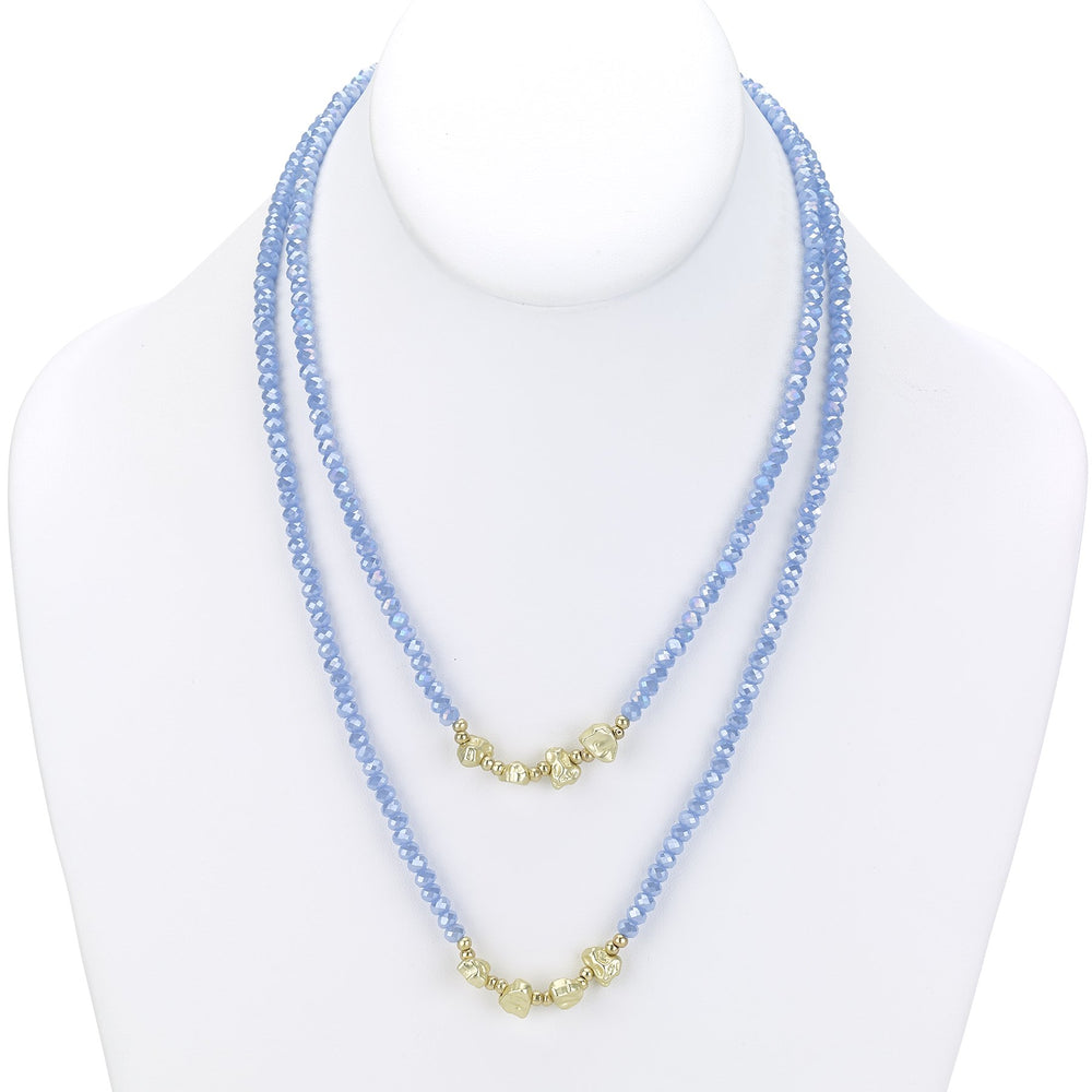 Faceted bead necklace with gold nuggets blue gold
