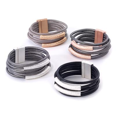 Leather bracelet with two large tubes center pieces magnetic closure