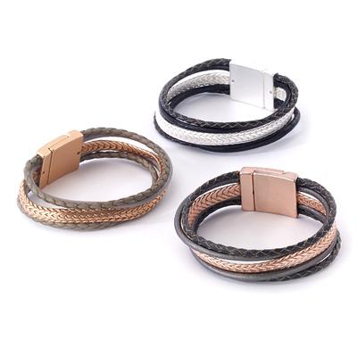 Leather bracelet with snake chain magnetic closure