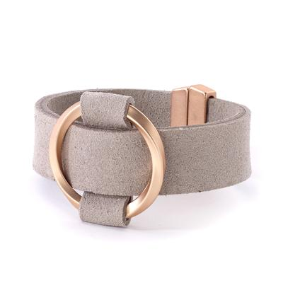Leather bracelet cuff open twisted circle center magnetic closure