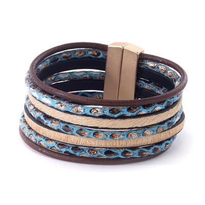 Leather bracelet with embossed snakeskin print magnetic closure