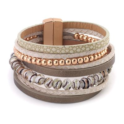 Leather strand multi combo wrap with faceted beads magnetic closure