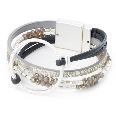 Multi strand combo leather bracelet with circle link centerpiece  Magnetic closure  Available In: