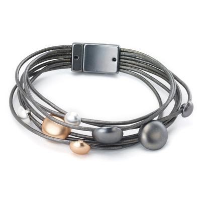 Leather bracelet round pebble stations magnetic closure
