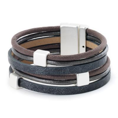 Leather bracelet square bead stations magnetic closure