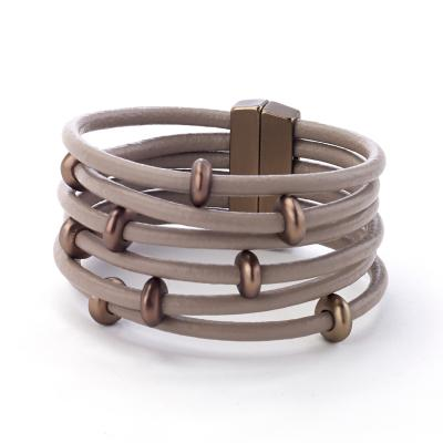 Leather bracelet multi strand magnetic closure
