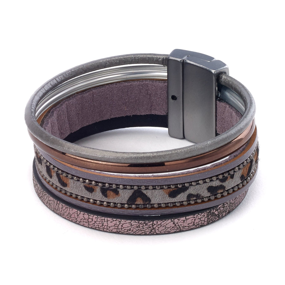 Leather bracelet with metallic leather leopard print magnetic closure