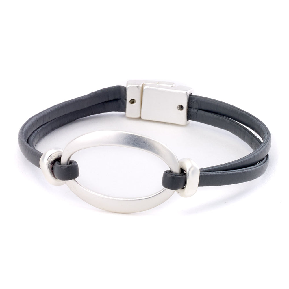 Leather bracelet with center buckle two strand magnetic closure
