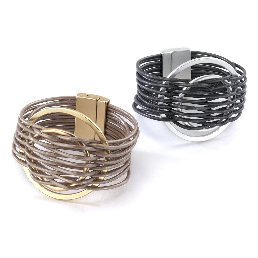 Leather bracelet multi strand double circle magnetic closure