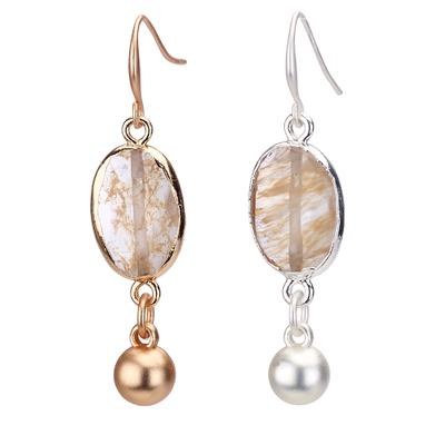 Agate stone earring with drop bead