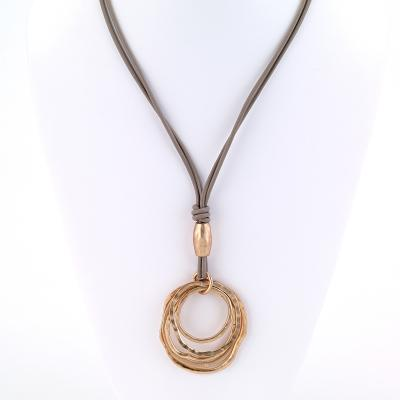 Leather two strand necklace with multi ring pendant