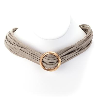 Multi Strand Open Circle Suede Necklace - Final Sale