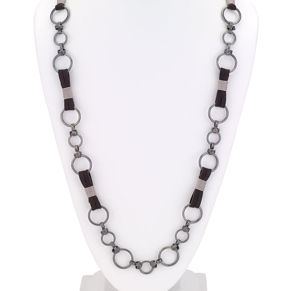 Leather long single strand combo necklace with rings silver