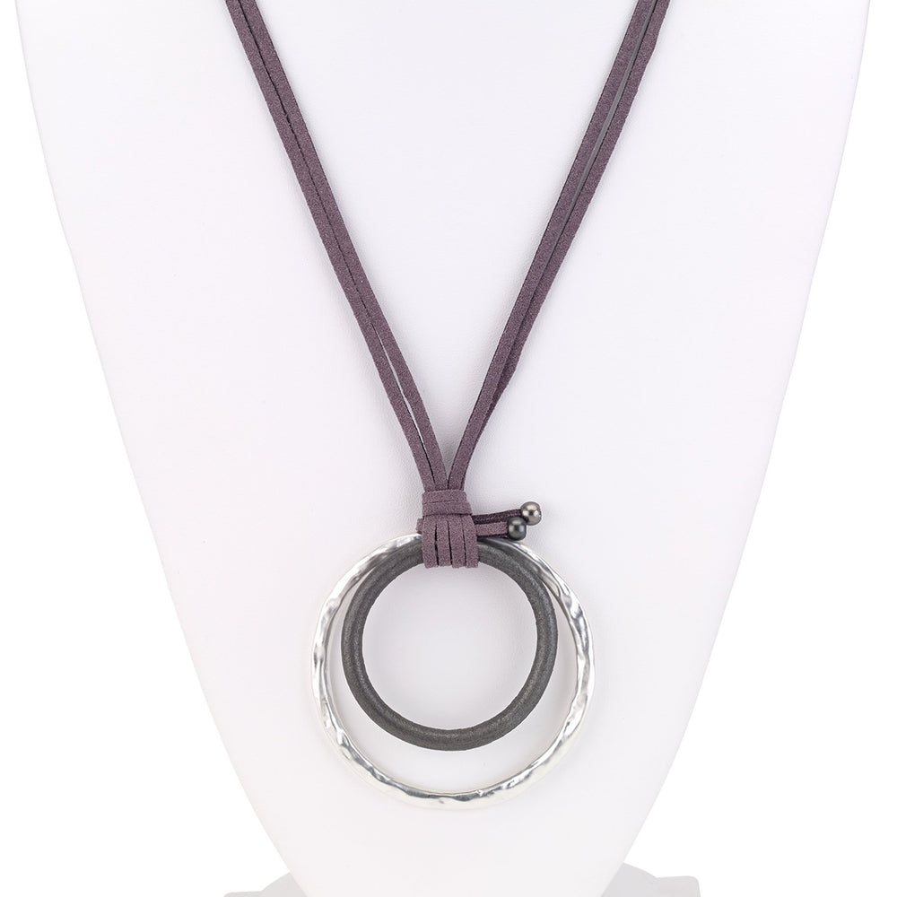 Leather two strand necklace with double link pendant silver