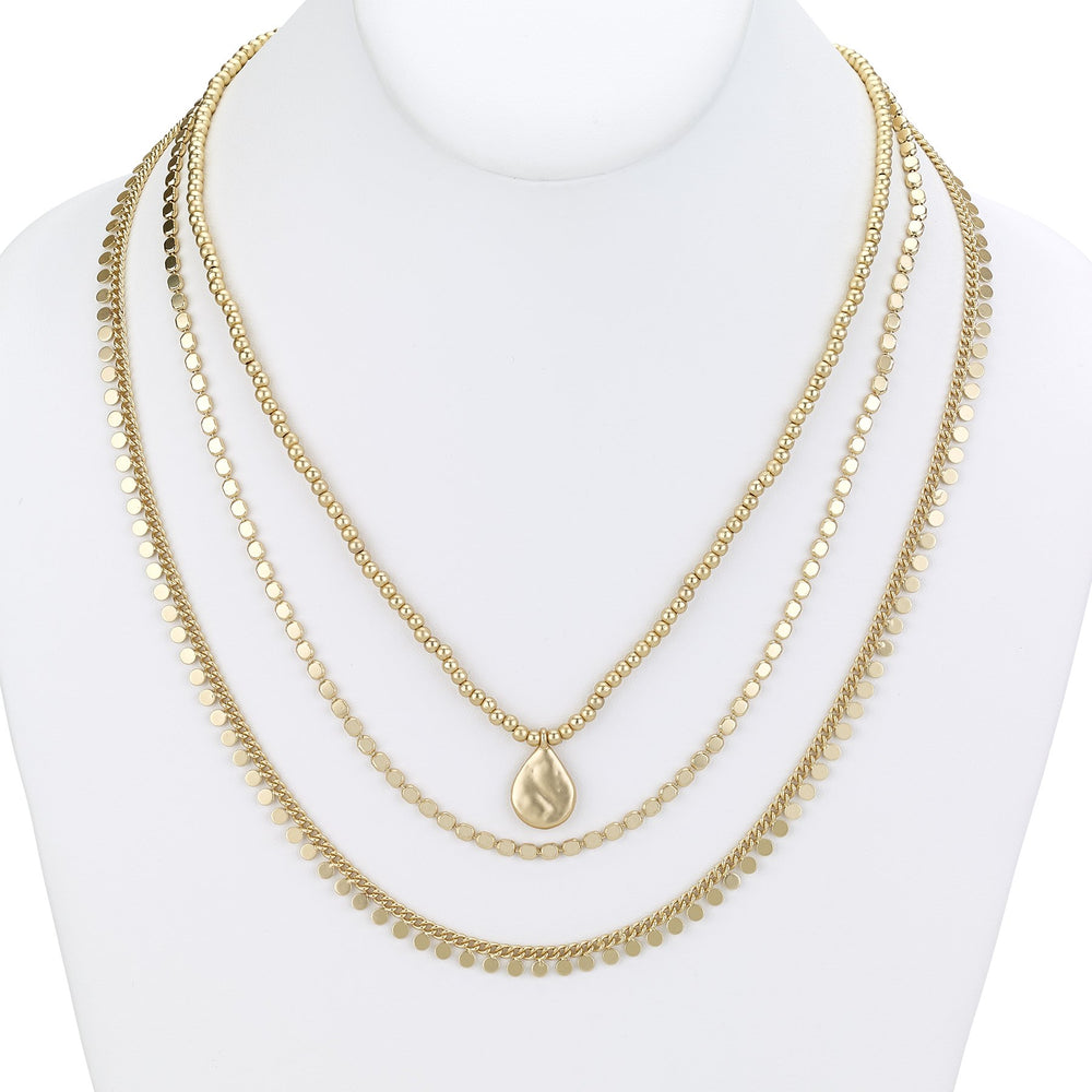 Chain necklace triple disk silver