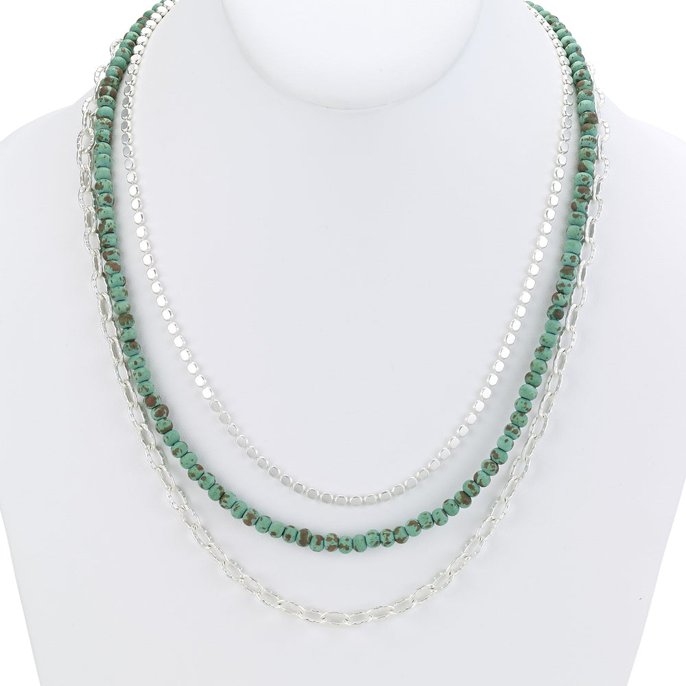 Chain necklace triple with  aqua beads silver