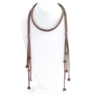Braided Suede With Pearl Lariat Necklace - Final Sale