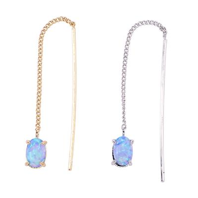 Dainty thread through earring with single oval opal stone