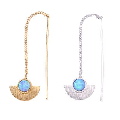 Dainty thread through earring with single opal stone and fan design