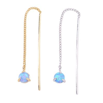 Dainty thread through earring with single opal stone