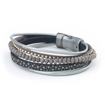 Leather bracelet thin 4 strands with beads magnetic closure