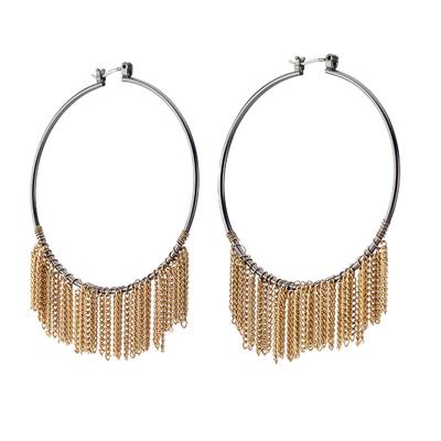Medium size gunmetal hoop earring with gold chains