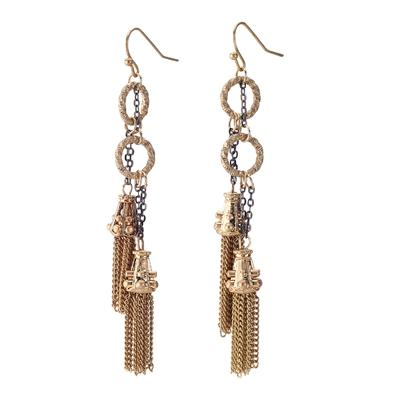 Antique style earring with gunmetal and gold chains