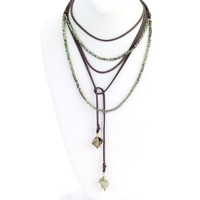 Suede Multi Wrap Necklace with Beaded Lariat - Final Sale