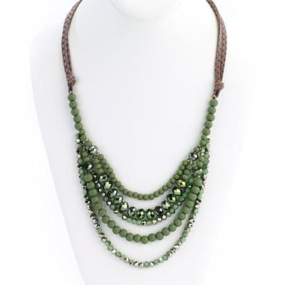 Multi Strand Beaded Suede Necklace - Final Sale