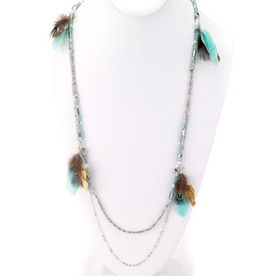 Double Strand Bead & Feather Necklace - Final Sale