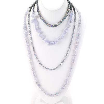 Four Strand Raw Nugget Stone & Beaded Necklace - Final Sale