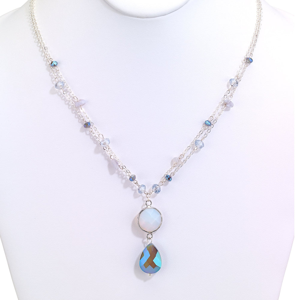 Chain necklace dainty beaded with drop crystal