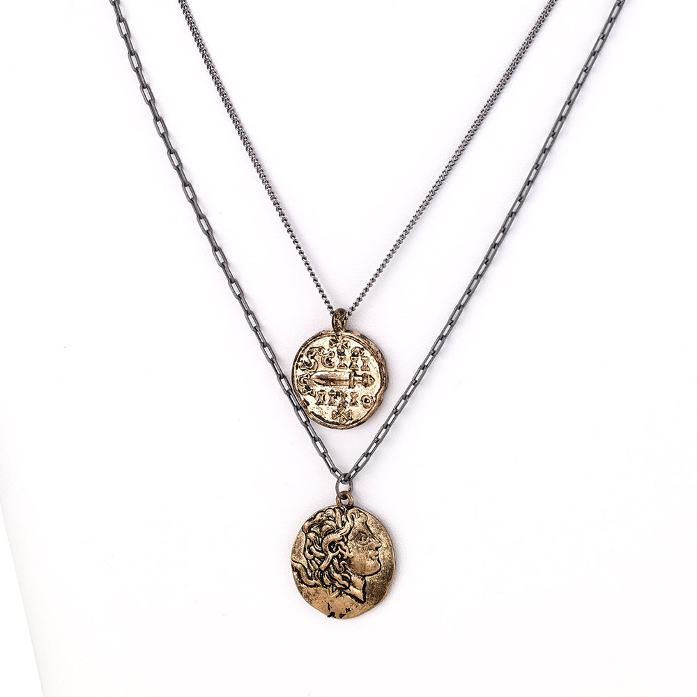 Chain necklace with coin pendants