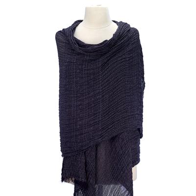 Solid colored scarf with open woven knit patterns, with soft hand