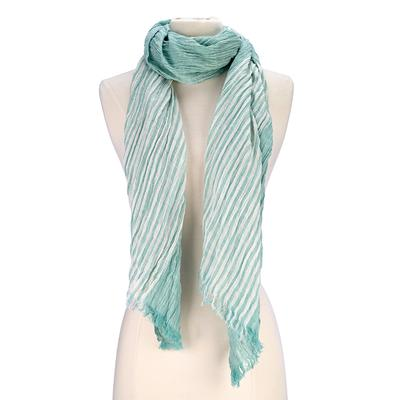 Striped crinkled design scarf. Viscose/Cotton