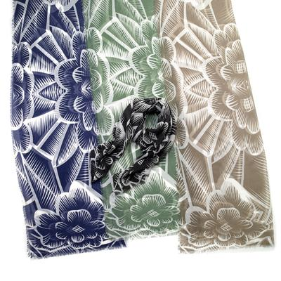 Tropical block print flower design scarf