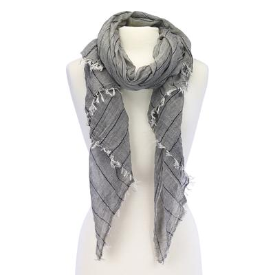 Stripe design scarf with soft crinkles