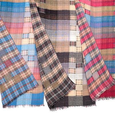 Plaid patchwork scarf