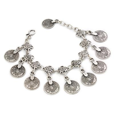 Vintage coin charm bracelet with hook closure