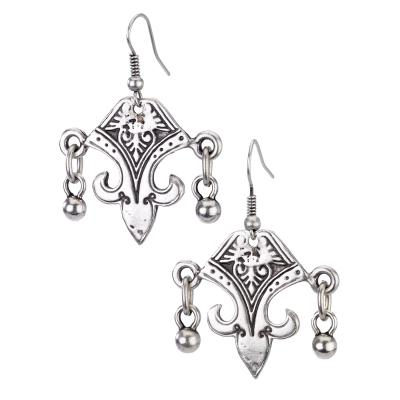 Vintage Turkish collection zinc alloy silver plated  African earring with dangle