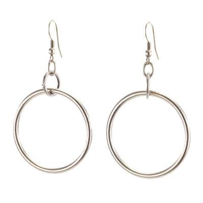 Vintage Turkish collection zinc alloy silver plated  Drop hoop earring
