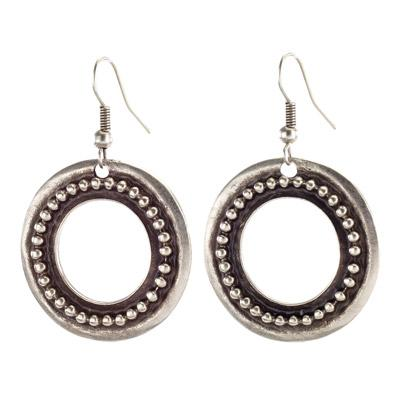 Vintage Turkish collection zinc alloy silver plated  Granulated hoop earring